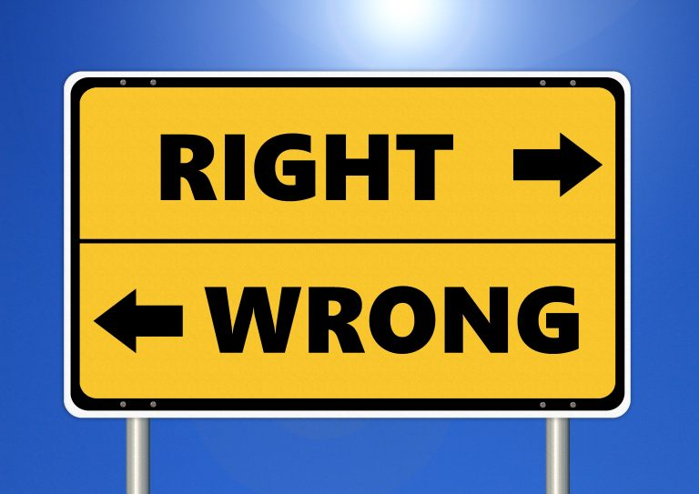 Right Or Wrong Sign.